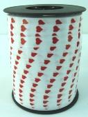 Ballonband Muster 04 - Weiß mit roten herzen