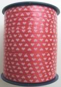 Ballonband Muster 13 - Rot mit weißen Herzen